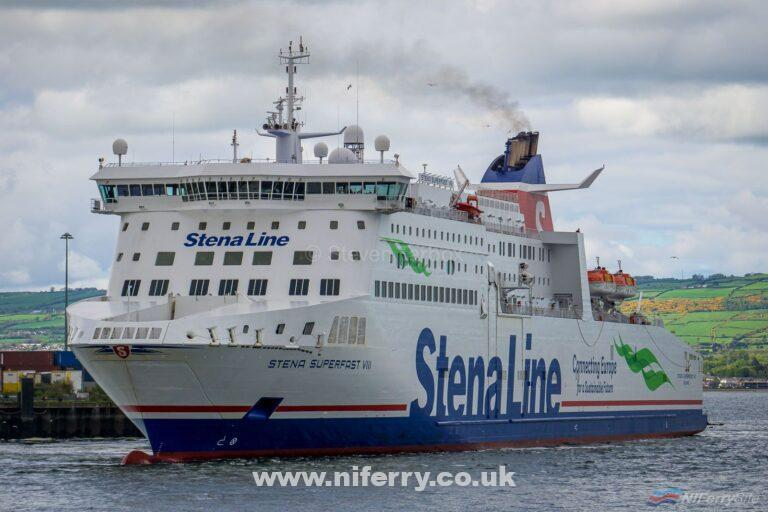 STENA SUPERFAST VIII swings off the berth at Belfast Victoria Terminal 4 (North) at the start of another routine crossing to Cairnryan. Copyright © Steven Tarbox.