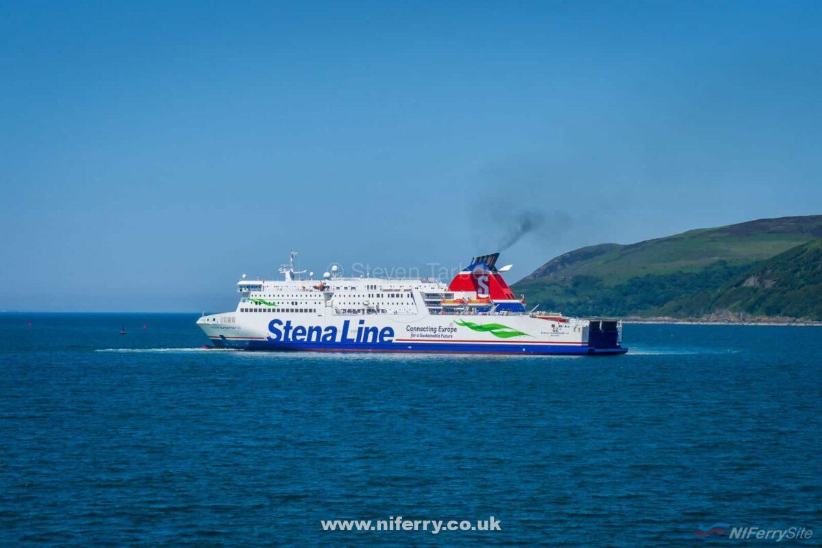 STENA SUPERFAST VIII turns almost within her own length prior to backing on to the berth at Loch Ryan Port. © Steven Tarbox