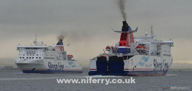 Stena Superfast VII and Stena Superfast VIII passing in Belfast Lough. Copyright © Alan Geddes.