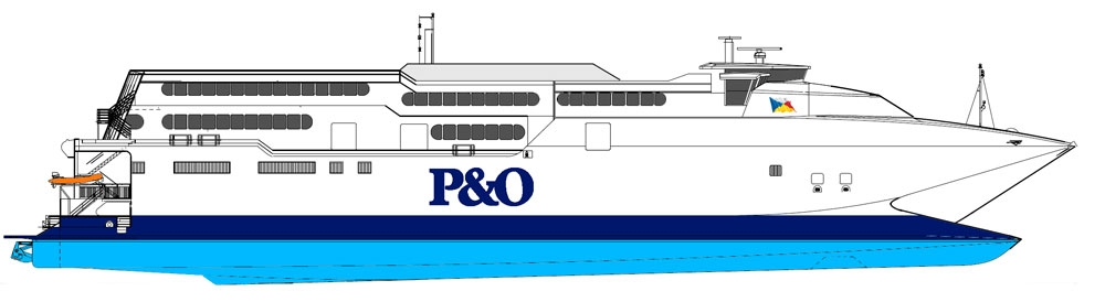 Side profile drawing of <strong>EXPRESS</strong> in P&O livery. InCat (livery added by Steven Tarbox).