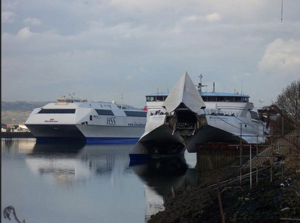 HSS Voyager and Hoverspeed Great Britain (at the ship repair quay in Belfast). Photograph Copyright © Scott Mackey.