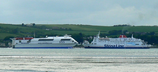 Stena Line fleet mates HSS Stena Voyager and Stena Navigator meet in Loch Ryan. Photograph Copyright © Scott Mackey.