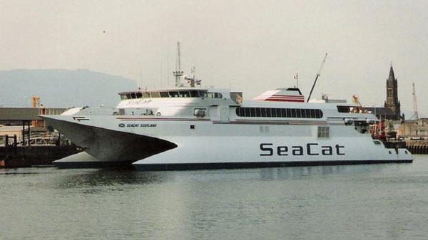 Seacat Scotland seemed revolutionary when she entered service on 1st June 1992 boasting a crossing time of just 90 minutes from Belfast to Stranraer. However, the established Larne based operators, Stena Sealink and P&O, where not long in responding with their own fast craft.  This culminated in Stena Line moving to Belfast as well for the introduction of their far larger HSS craft. Seacat lasted a mere 12 years before withdrawing all services - the last crossing being on Monday 1st November 2004 from Troon to Belfast. Photograph Copyright © Scott Mackey.