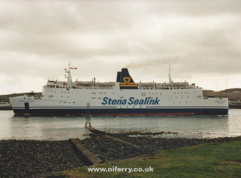 Stena Galloway leaves Larne in the short lived Stena Sealink Line livery. Copyright © Gary Andrews.