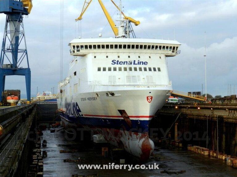 STENA MERSEY in dry dock at Harland & Wolff, Belfast November 2014. Copyright © Scott Mackey, used with permission.