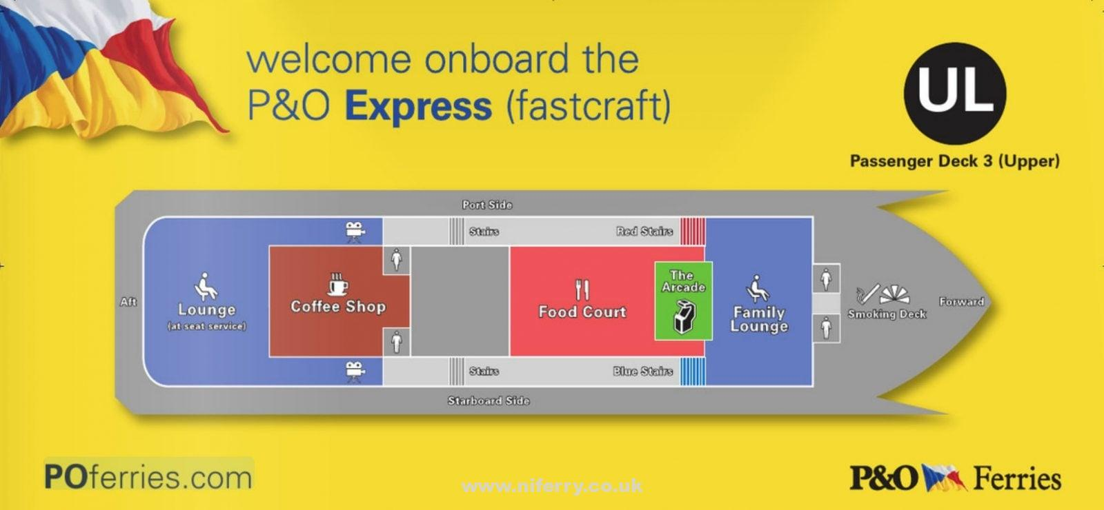 P&O EXPRESS upper passenger deck (deck 3) deck plan. P&O Ferries
