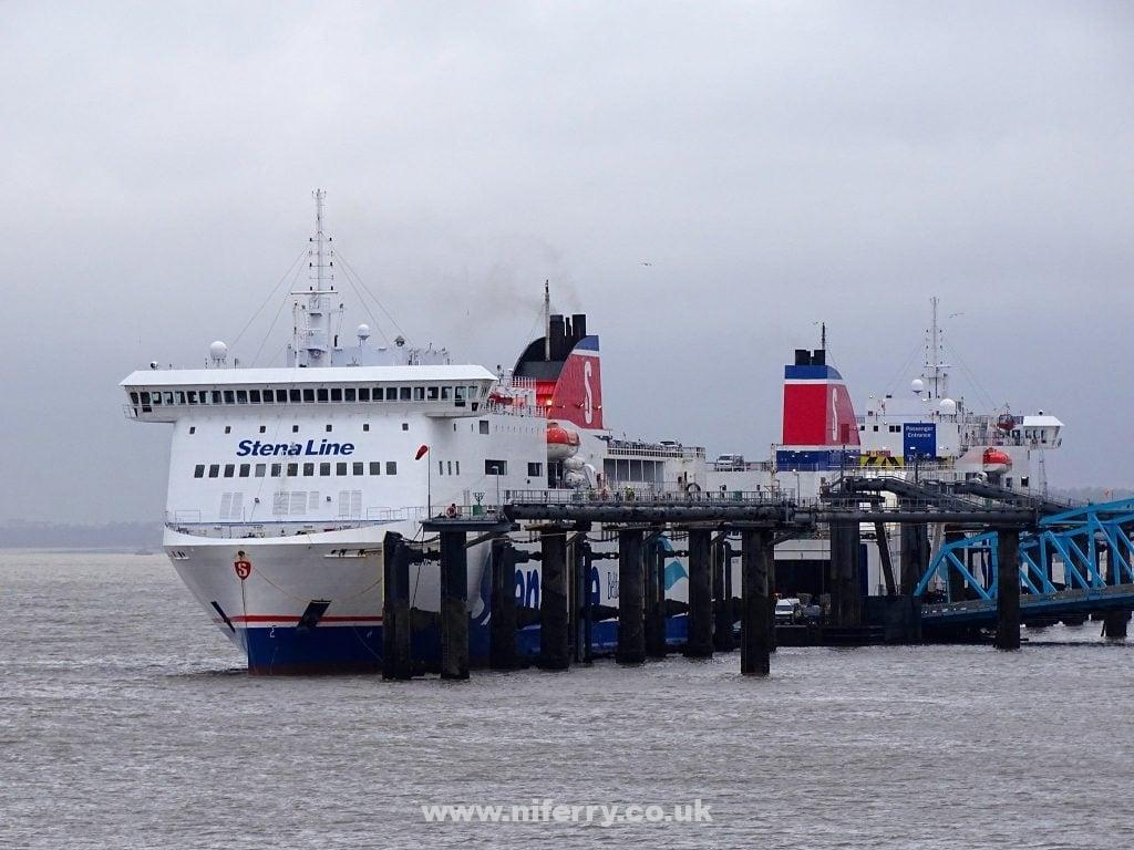 Stena Mersey and Stena Lagan at 12 quays, 3/4/15. Copyright © Christopher Brindle 2015