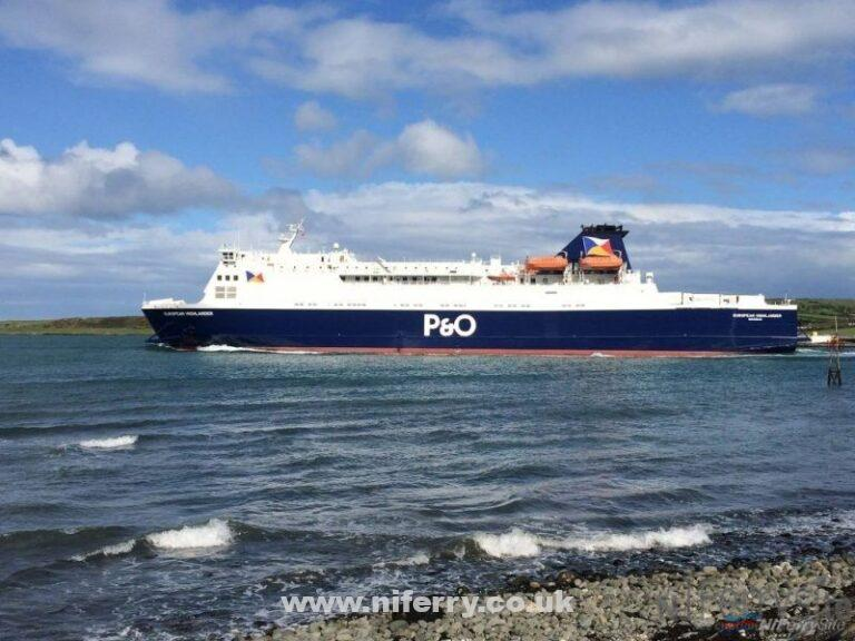 EUROPEAN HIGHLANDER leaves Larne in the freshly applied new P&O livery, May 2015. Copyright © Gary Andrews.