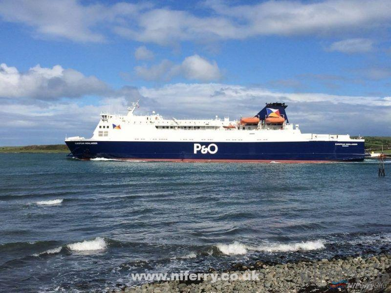 European Highlander leaves Larne in the freshly applied new P&O livery. Copyright © Gary Andrews.