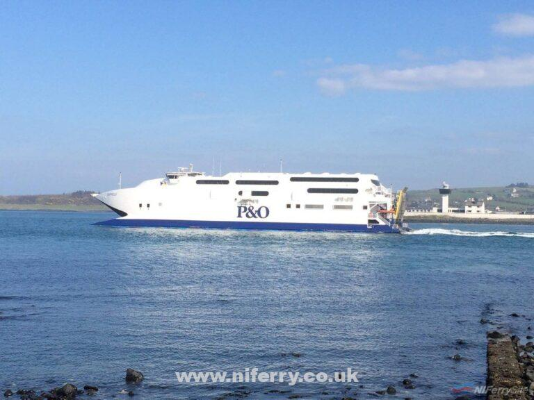 P&O's Express pictured leaving Larne on Easter Monday during her final year in service.