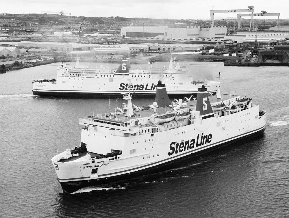 Stena Galloway departs Belfast with Stena Caledonia in the background. Taken on June 16th 1999. Copyright © Alan Geddes.