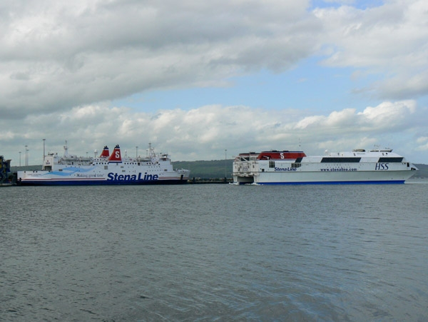 Stena Caledonia and HSS Stena Voyager together in Belfast.