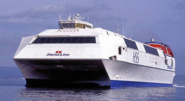 Stena's HSS Stena Voyager arriving in Belfast back in 1997. Copyright © Alan Geddes.