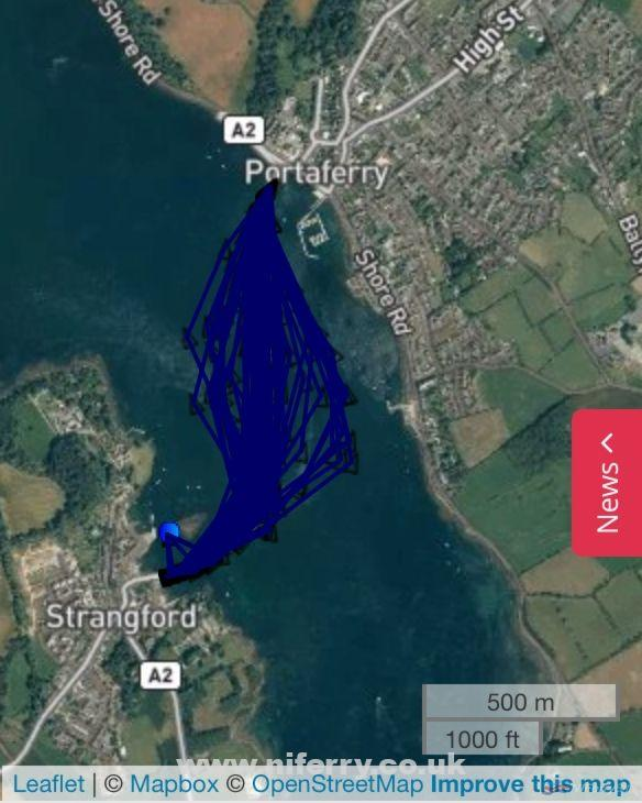 "Snapshot of the different paths across 'The Narrows"" taken by Strangford II on just 1 day. Copyright © Marine Traffic/OpenStreetMap."
