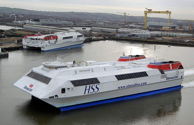 HSS Stena Explorer pictured with HSS Stena Discovery in Belfast, back in 2008. Copyright © Alan Geddes.