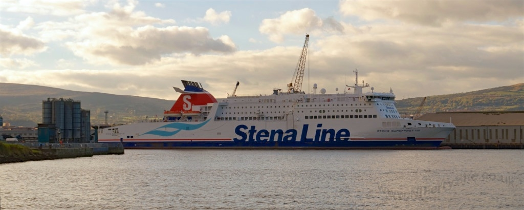 Stena Superfast VIII, laid over at Belfast's Stormont Wharf for planned maintenance, on Saturday 17th October 2015. Copyright © Steven Tarbox.