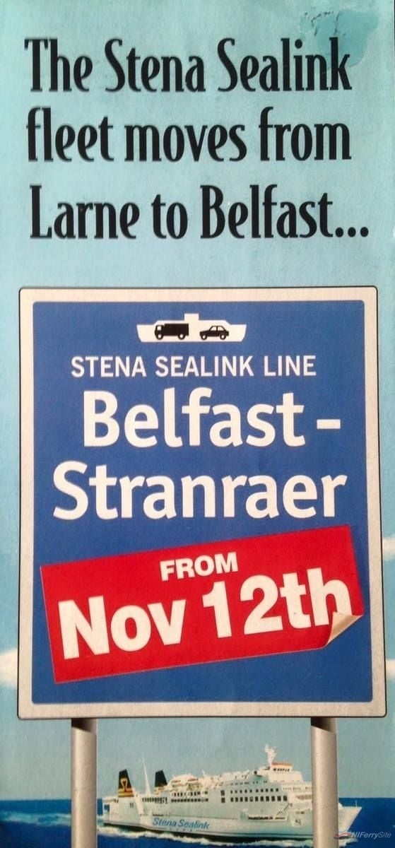 A scan of a Stena leaflet promoting the move to Belfast. Courtesy of Scott Mackey