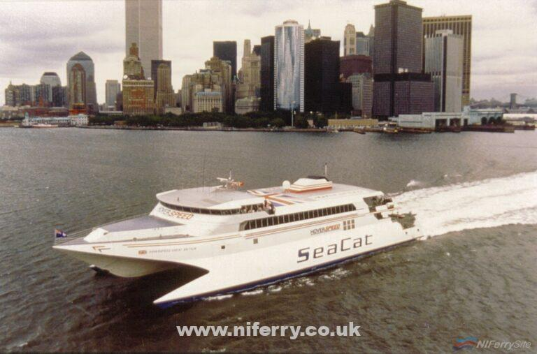 Hoverspeed Great Britain pictured in New York before her record breaking crossing of the Atlantic. InCat.
