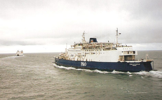 Pride of Rathlin follows Stena Caledonia out of Larne in 1993. Copyright © Scott Mackey.