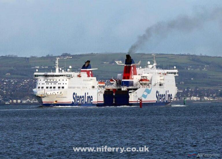 Stena Superfast VII (outbound) and Stena Superfast X pass in Belfast Lough. Stena Line.