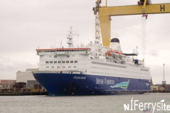 Irish Ferries 1987 built cruise ferry 'Oscar Wilde' berthed at Harland & Wolff's Outfitting Quay. Pictured shortly after her arrival on 5/2/16. Originally she had been scheduled to visit A&P Falmouth, but delays to fleet mates 'Ulysses' and 'Isle of Inishmore' meant her slot was no longer available. Copyright © 2016 Steven Tarbox/NIFerrySite.