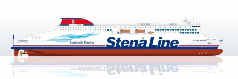 Side profile drawing of the newly ordered Stena Ro-pax ferries to be built by AVIC Weihai in China. Image: Stena Line
