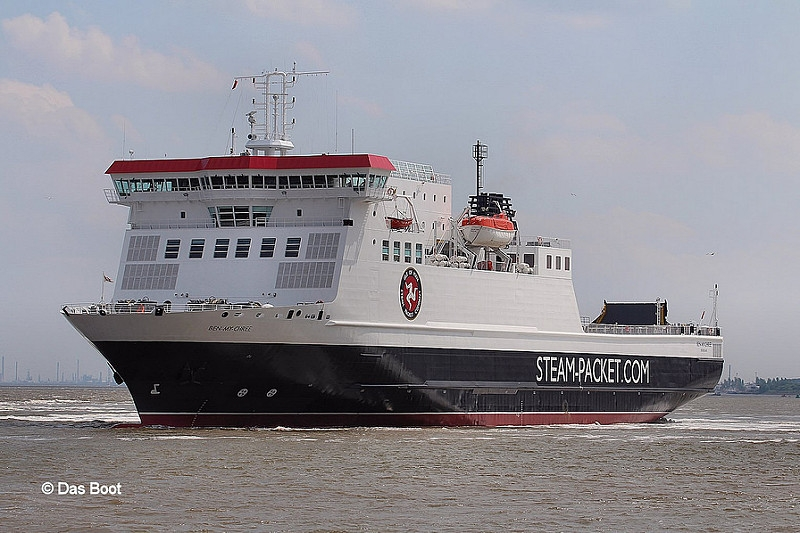 Newly repainted Ben My Chree pictured leaving Cammell-Laird Birkenhead following maintenance in May 2014. Copyright © Das Boot 160.