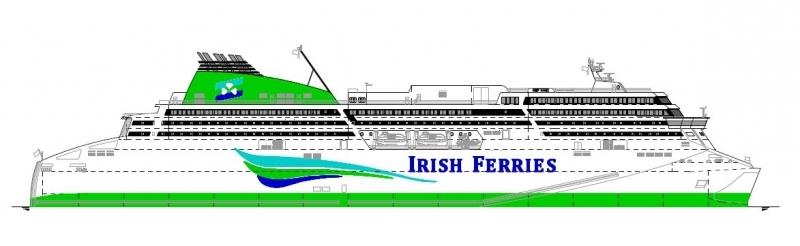 Artist's impression of Irish Ferries new approx 50,000 gt vessel. © FSG.