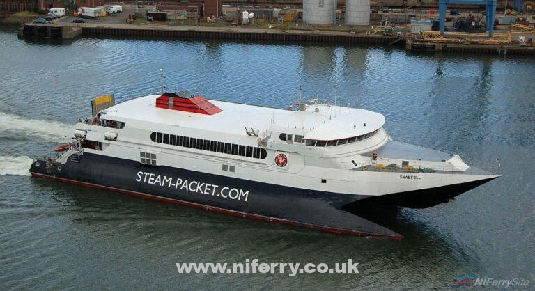 SNAEFELL captured arriving in Belfast on July 4th 2008. Copyright © Alan Geddes.