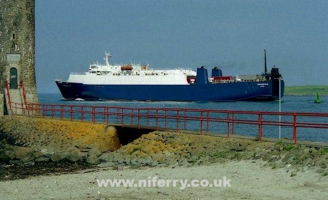 "Northern Star operated P&O's short-lived Larne-Liverpool freight service between August 2001 and December 2002. Albert Bridge [<a href=""http://creativecommons.org/licenses/by-sa/2.0"">CC BY-SA 2.0</a>], <a href=""https://commons.wikimedia.org/wiki/File%3AThe_%22Bison%22_at_Larne_-_geograph.org.uk_-_632208.jpg"">via Wikimedia Commons</a>"