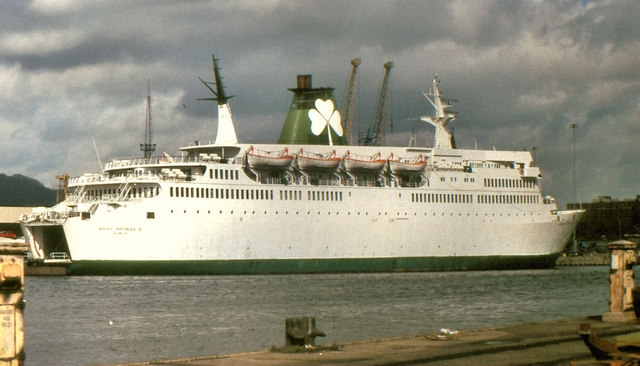 St Patrick II was the regular vessel to cover for St Colum I during her overhaul periods. She is seen here at Belfast's Donegall Quay in 1987. © Copyright Albert Bridge and licensed for reuse under this Creative Commons Licence