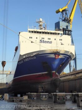 Stena Hibernia dry docked at Harland and Wollf at the end of 2016. Copyright Scott Mackey.