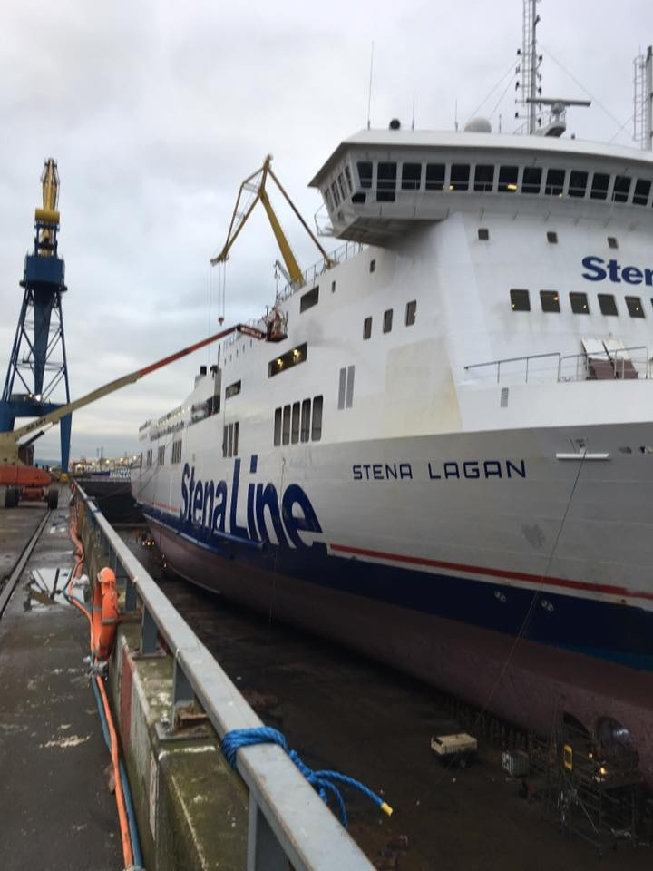 Shot of Stena Lagan's starboard side viewed from the bow. Taken during the vessels 2017 dry dock at Belfast's Harland and Wolff. Stena Line.