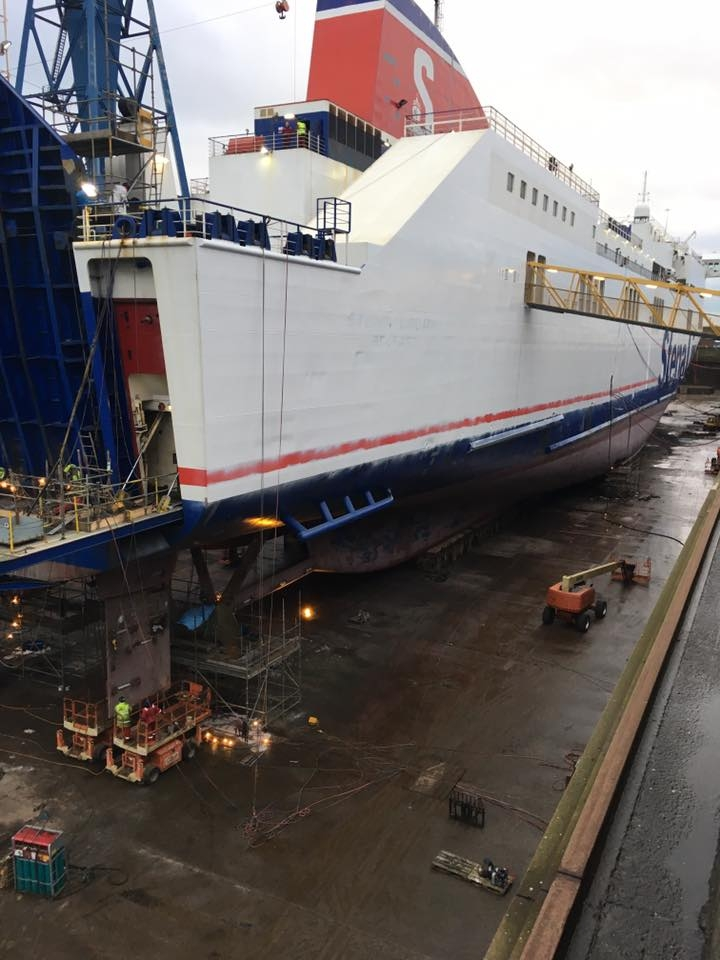 Closer look at the stern of Stena Lagan in Belfast dry dock, January '17. Stena Line