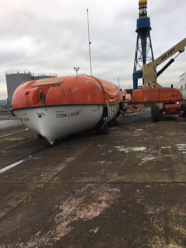 One of Stena Lagan's lifeboats rests on firm ground during her 2017 dry docking in Belfast. Stena Line