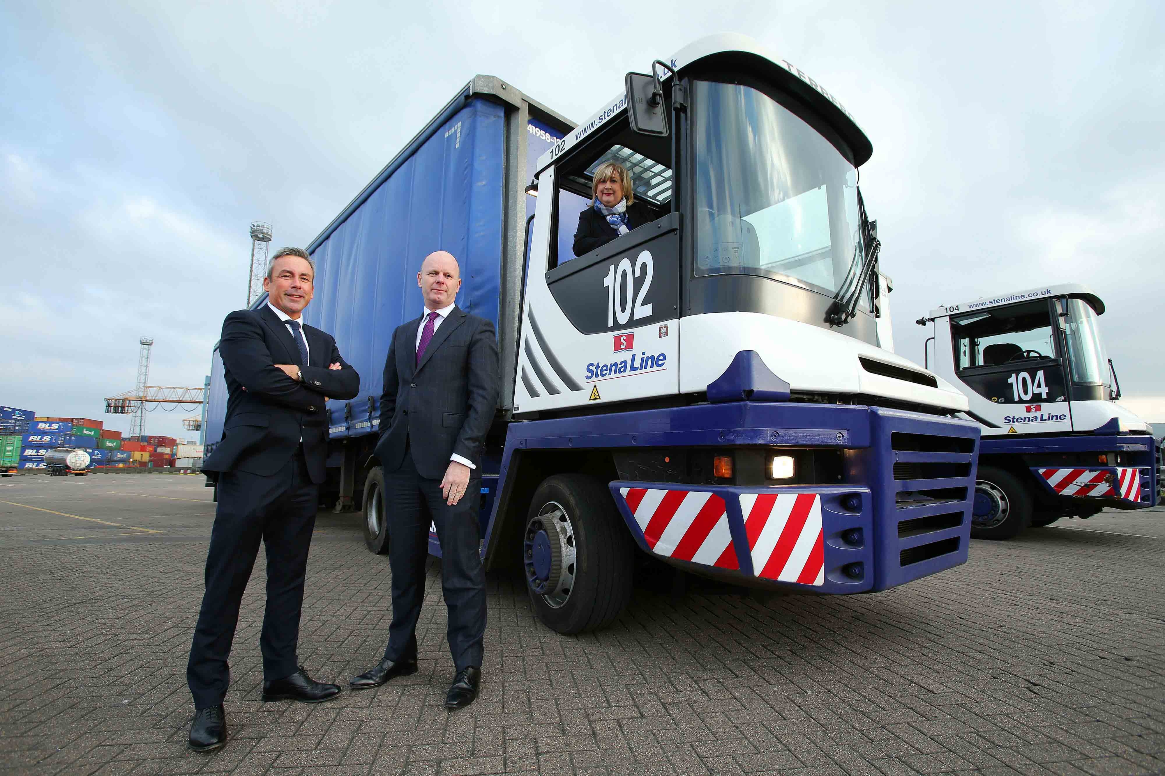 IN THE DRIVING SEAT...Leading ferry company Stena Line has posted a record year for freight traffic volumes on its Belfast Harbour routes to Cairnryan, Liverpool and Heysham in 2016. For the first time in its history, Stena Line has carried over 500, 000 freight units through Belfast Harbour. Pictured celebrating the success are (left to right): Paul Grant, Stena Line's Trade Director (Irish Sea North), Joe O'Neill, Commercial Director, Belfast Harbour and Anna Breen, Stena Line's Freight Commercial Manager (Irish Sea North).