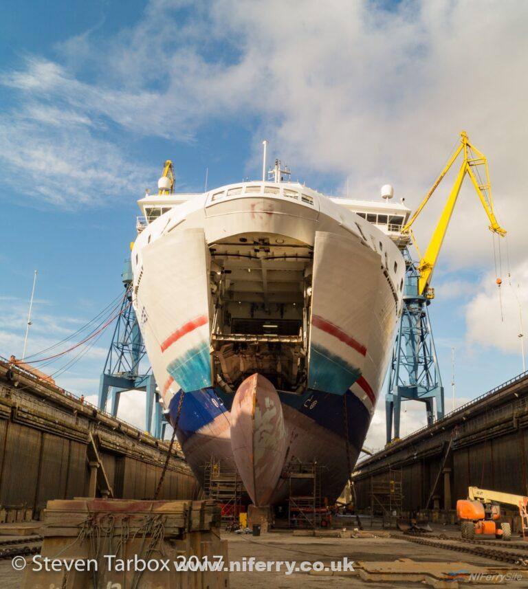 STENA SUPERFAST VII during her 2017 dry-docking. Copyright Steven Tarbox