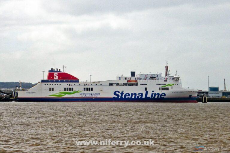 Stena Lagan pictured during her Monday lay-over at Birkenhead on 13/03/17. © Steven Tarbox