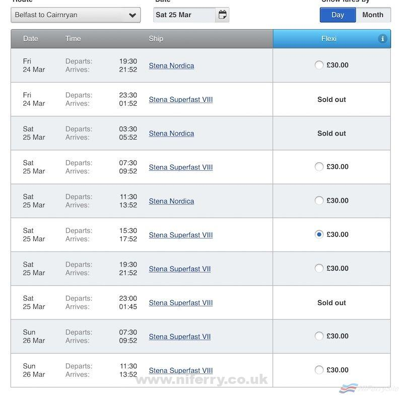 Screenshot of the Stena Line booking website showing Stena Superfast VII back in service on Saturday the 25th of March.