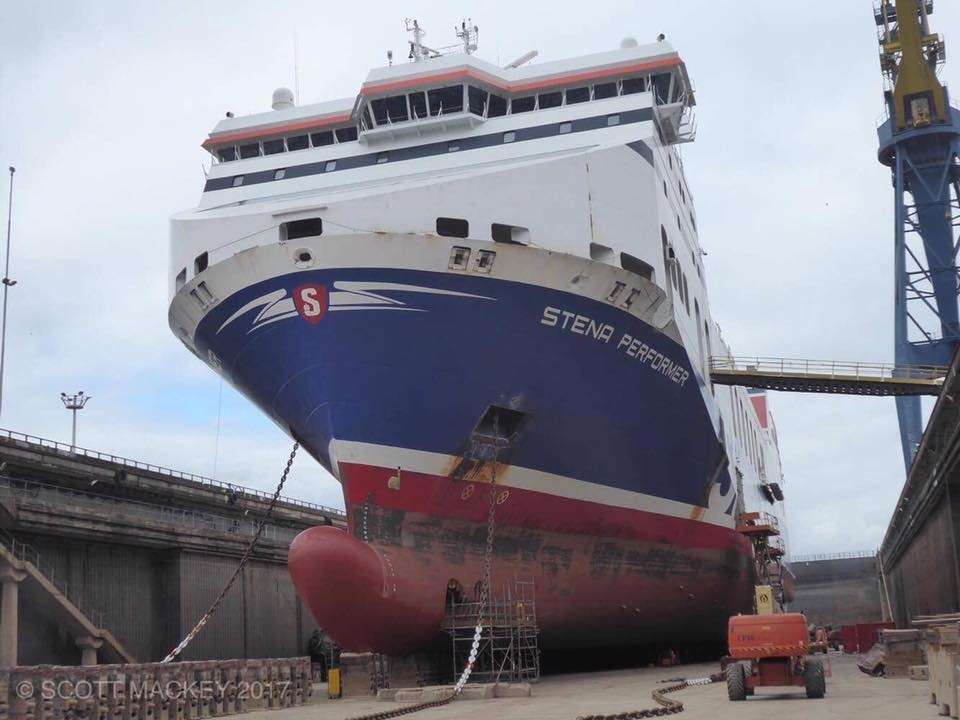 STENA PERFORMER in Harland and Wolff's Belfast Dry Dock, April 2017. Copyright © Scott Mackey.