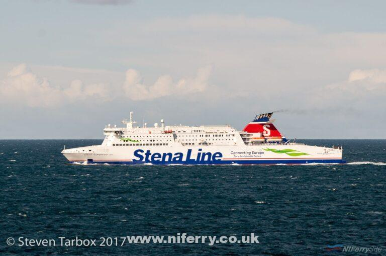 Stena's Belfast to Cairnryan ferry Stena Superfast VIII crossing the North Channel, fresh from her 2017 refit . Copyright © Steven Tarbox