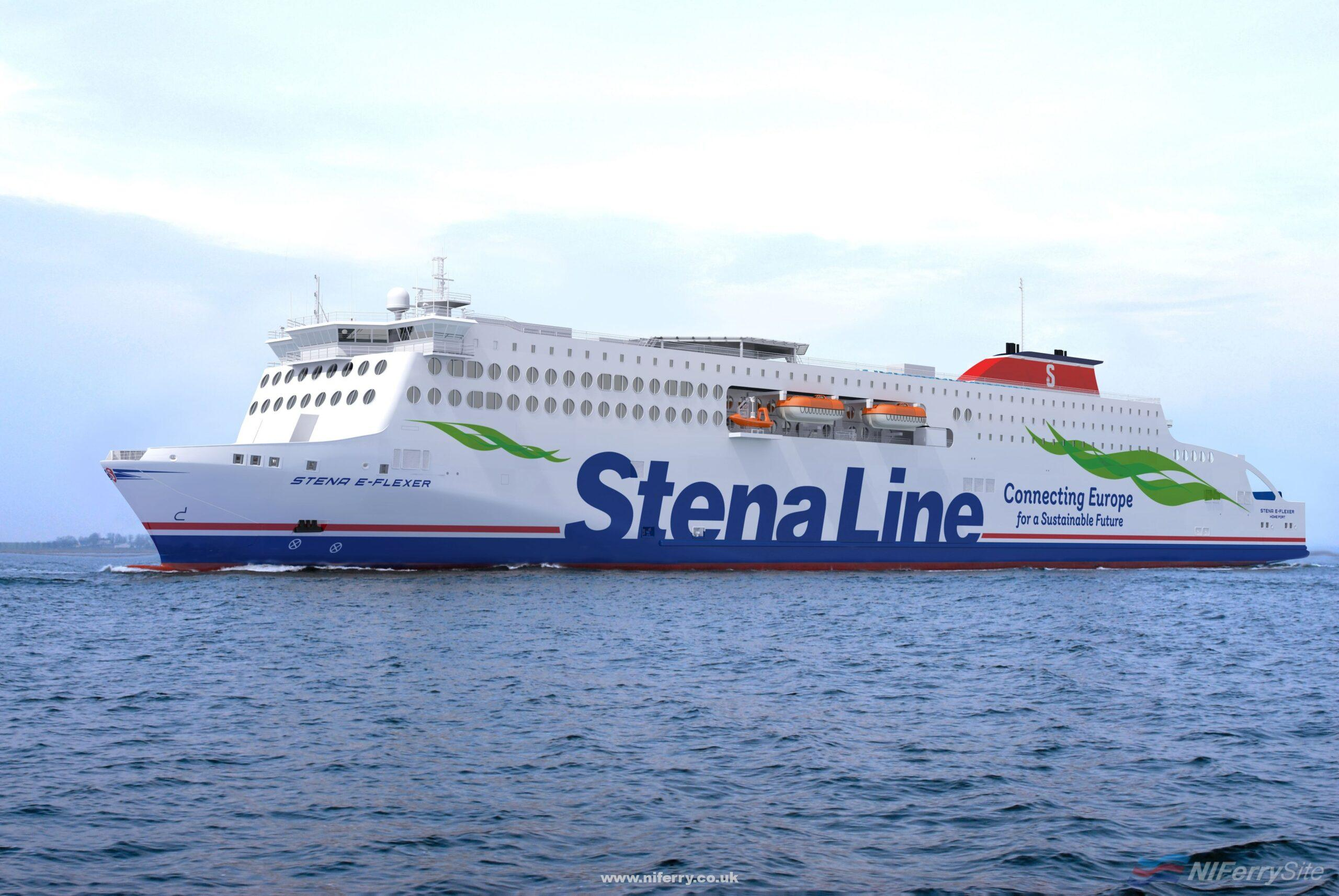 Rendering of the Stena E-Flexer design with the new Connecting Europe for a Sustainable Future slogan.