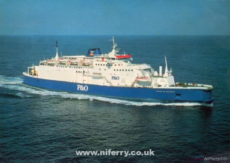 PRIDE OF RATHLIN. This official photograph is actually of the vessel when she was PRIDE OF WALMER operating from Dover, with the name changed on the bow. © P&O European Ferries