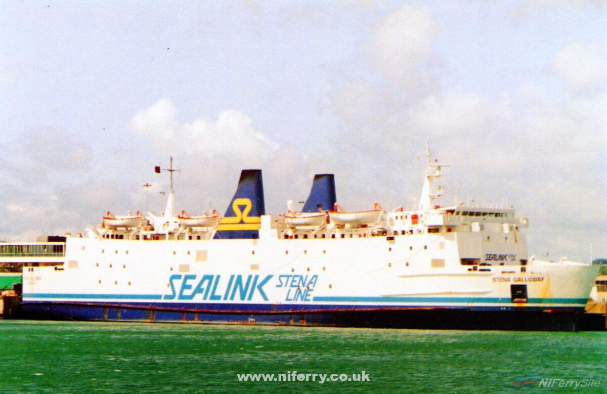 Chantry Classics postcard depicting Stena Galloway in 'Sealink Stena Line' livery. Photograph Copyright © Gordon Hislip.