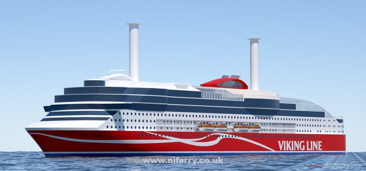 Artists impression of Vikings new cruiseferry which is expected to be delivered in 2020. Viking Line.