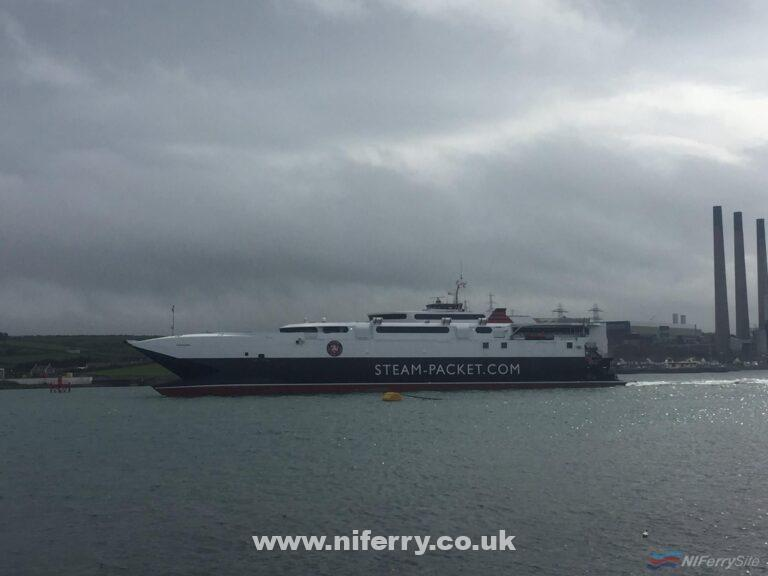 The Isle of Man Steam Packet catamaran MANANNAN departs Larne following berthing trials. Copyright © Gary Andrews