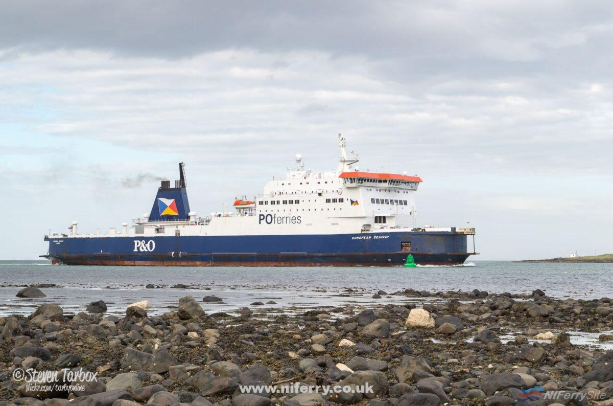 EUROPEAN SEAWAY arrives at Larne at the end of her afternoon sailing from Cairnryan, 10/06/17. Copyright © Steven Tarbox