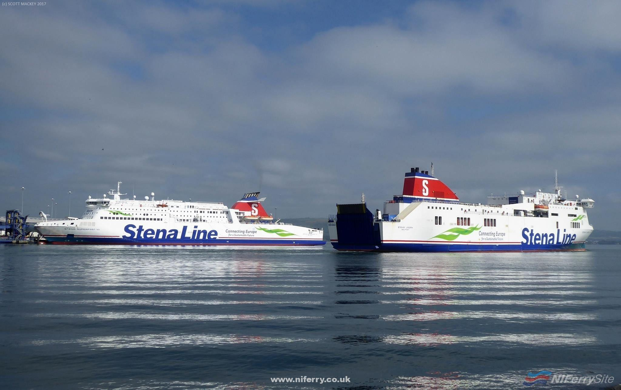Stena Lagan passes Stena Superfast VII at the start of another crossing to Birkenhead. Copyright © Scott Mackey.