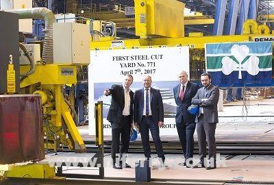 """""""This first steel cutting is more than symbolic and starts the practical construction of our new build. This investment underpins the confidence the Group has in both the freight and passenger tourism markets between Ireland, Britain and France"""", Mr. Rothwell said."""
