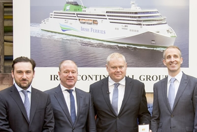 Pictured at the keel-laying ceremony for the new Irish Ferries RoPax are Irish Ferries managing director, Andrew Sheen (centre right), David Ledwidge (left), chief financial officer, Irish Continental Group Plc and Capt. Brian McKenna (right). With them is Rüdiger Fuchs (centre left), CEO of shipbuilders Flensburger Schiffbau-Gesellschaft.